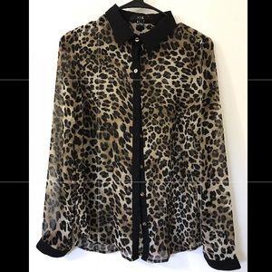 Leopard dressy long sleeve top